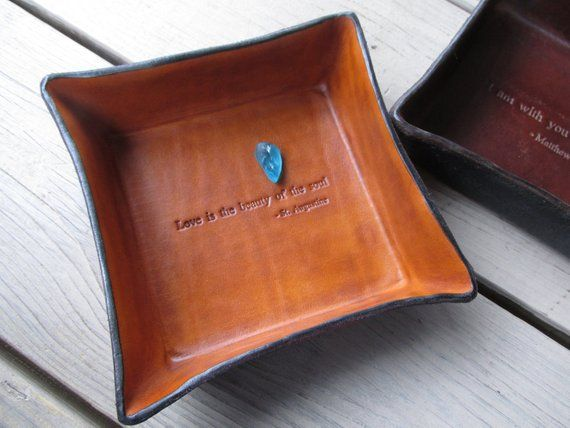 221122651100 3rd Anniversary Leather Valet. Love is the Beauty of the Soul. Black and  Tan Leather Tray.
