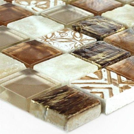 Glas Naturstein Onyx Mosaikfliese Sun Preis: 14,30 /Matte Farbe: Braun Beige