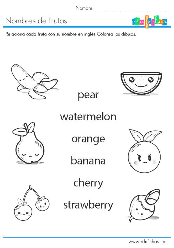 Nombres De Frutas En Inglés Ficha Educativa Infantil Cuaderno De Ingles Ingles Basico Para Niños Ingles Para Preescolar