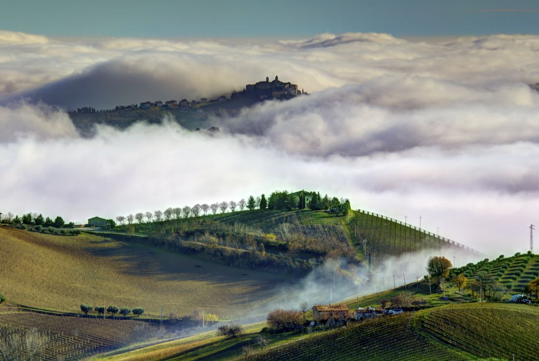 Mist rolling in over the hills