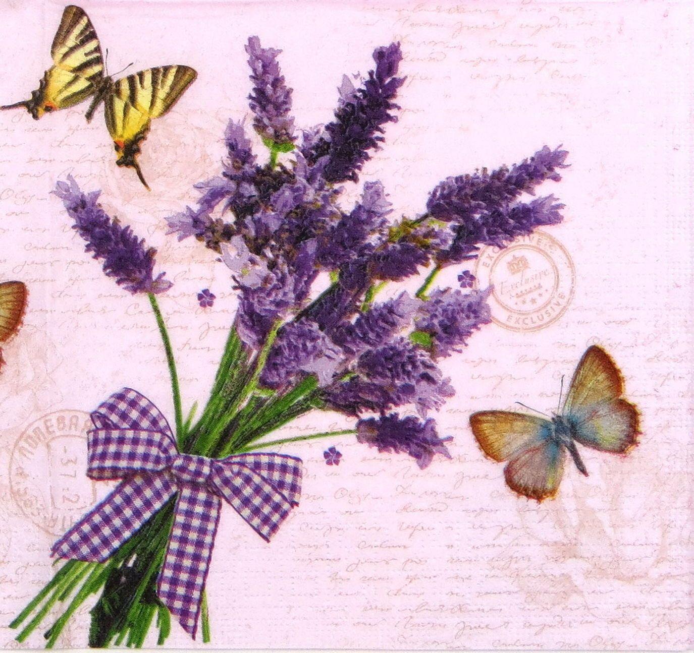 4x Paper Napkins for Decoupage Decopatch Craft Lavender