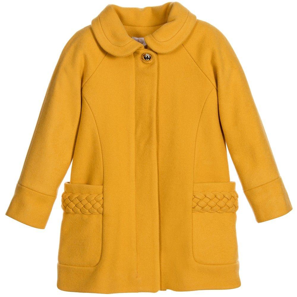Girls Yellow Braided Wool Coat | Kid clothing, Fashion kids and ...