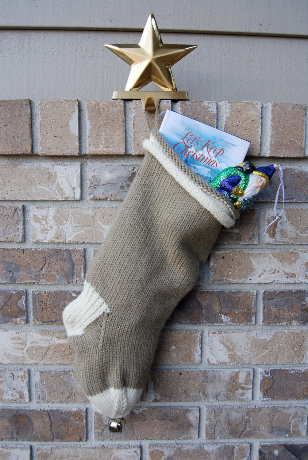 Hand knitted christmas stocking taupe and cream stocking hand knitted christmas stocking taupe and cream stocking rolled cuff 4500 via bankloansurffo Choice Image