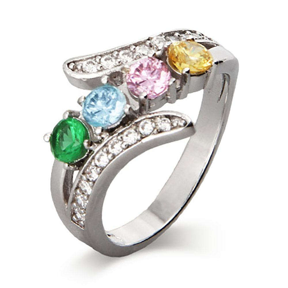 the 4 cz bypass birthstone s ring features 4 custom