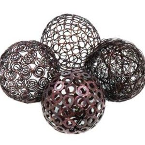 Silver Decorative Balls Modern Sphere Table Decor  Decorative Metal Wire Spheres