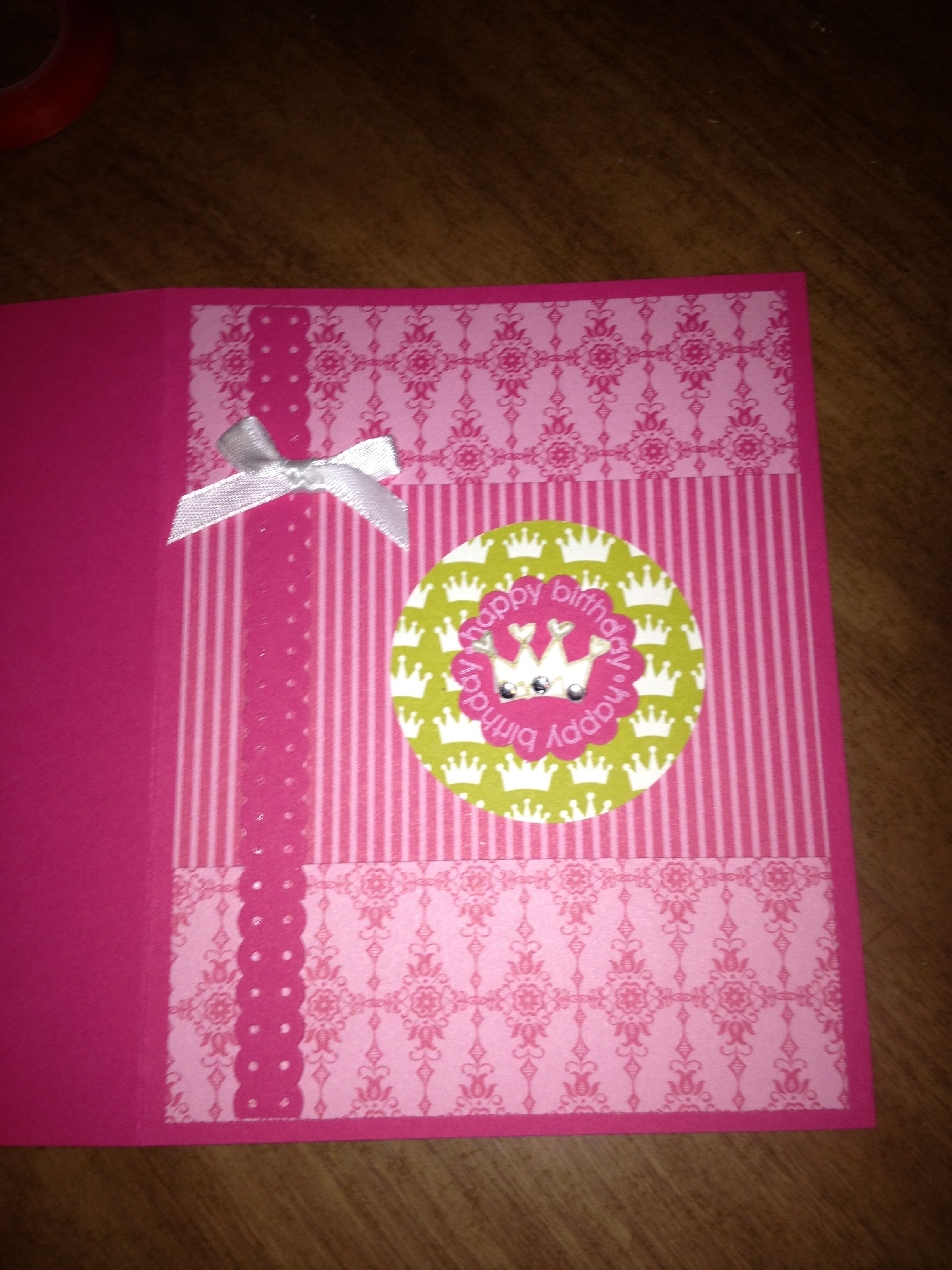 My princess birthday card stampin up melon mambo hmcs with abby