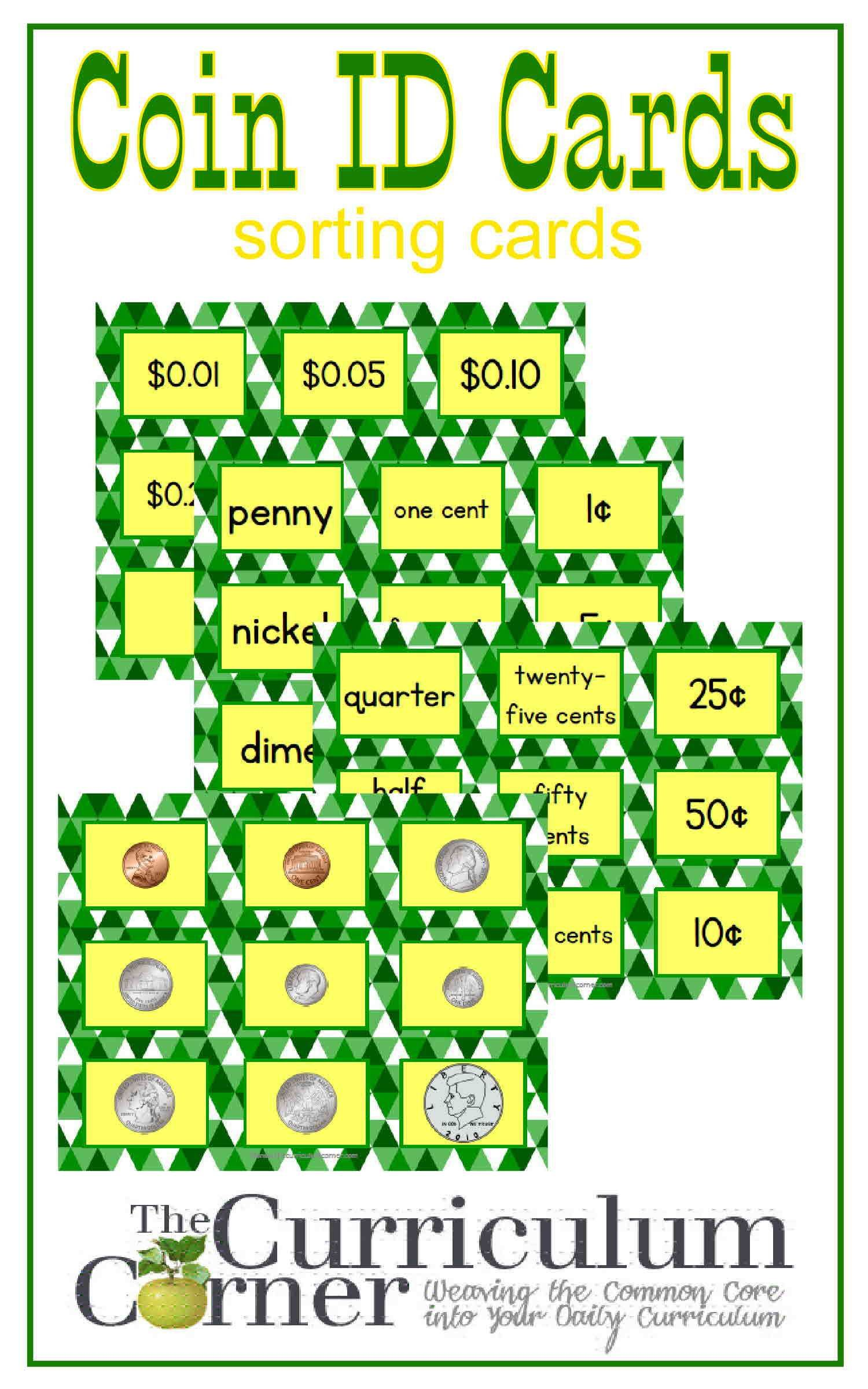 Coin Identification Sorting Cards Free From The Curriculum