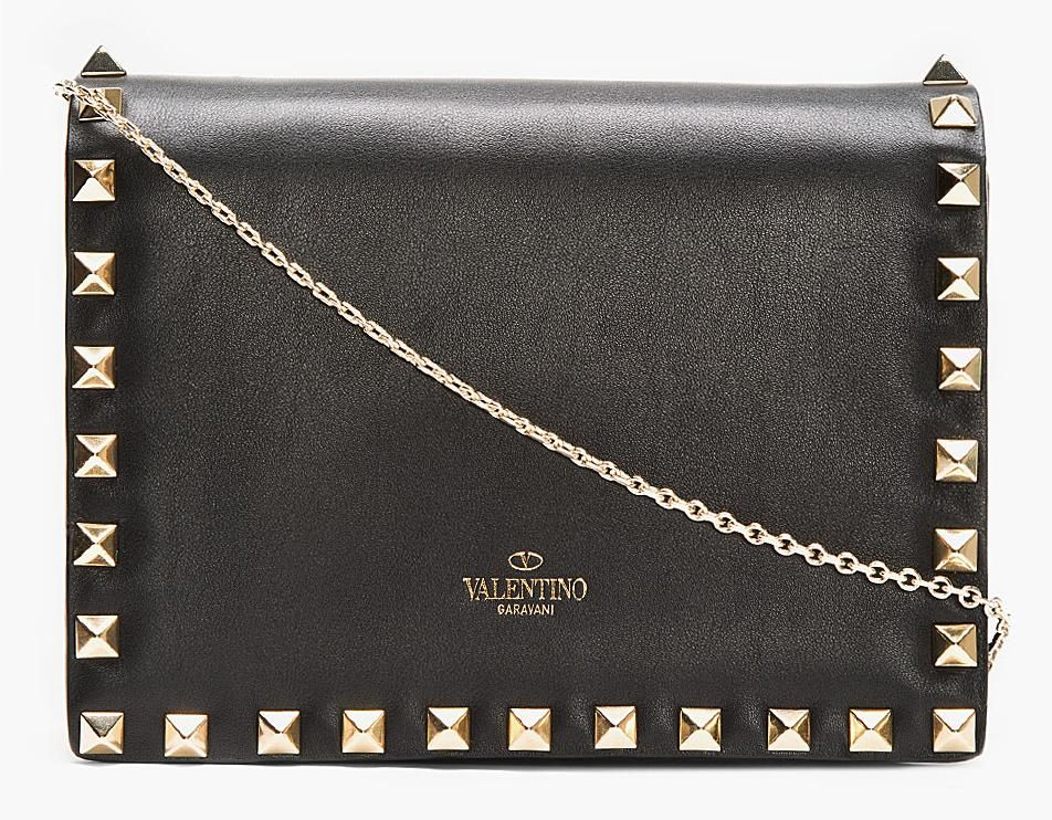 """what-do-i-wear: """"VALENTINO // BLACK LARGE CLUTCH WITH CHAIN """""""