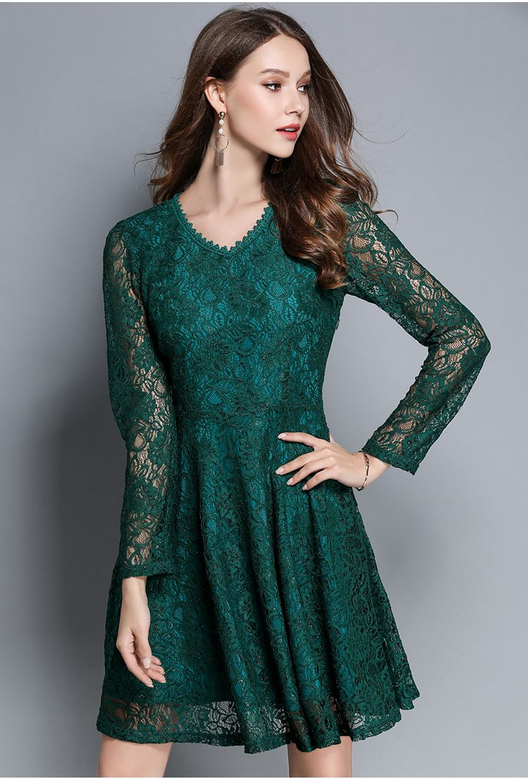 2018 New Autumn Women\'s Lace Elegant Dresses Casual Tunic Red Green ...