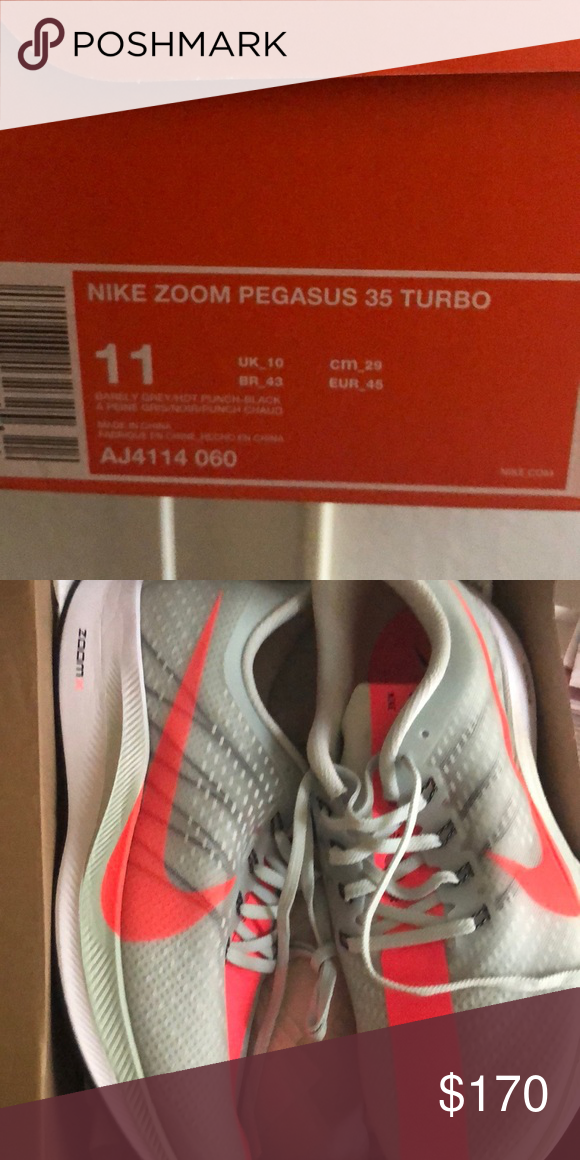 0f95ef28b7d Nike Zoom Pegasus 35 Turbo NWT Barley Grey Hot Punch Black NWT. Bought the  wrong size and missed the return window. They are new in the box and I can  ship ...