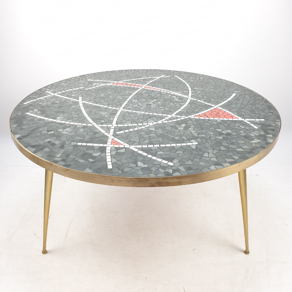 Large Vintage Round Mosaic Coffee Table By Berthold Muller 1950s Design Market Mosaic Coffee Table Coffee Table Table [ 1000 x 1000 Pixel ]