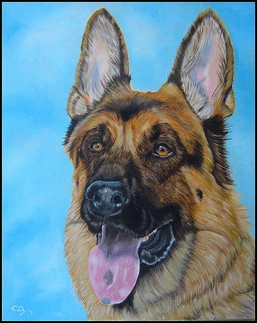 Portrait de chien berger allemand la peinture l 39 huile - Dessin de chien berger allemand ...
