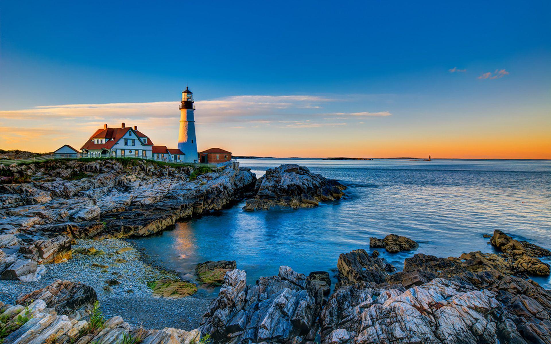 Sunset Landscape Hd Wallpaper Google Search Wonders Of The World Lighthouse Landscape
