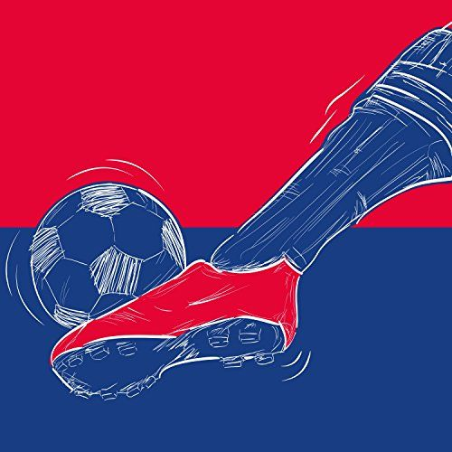 "Locker Wallpaper ""Football RedBlue"" Soccer Print, Footba"
