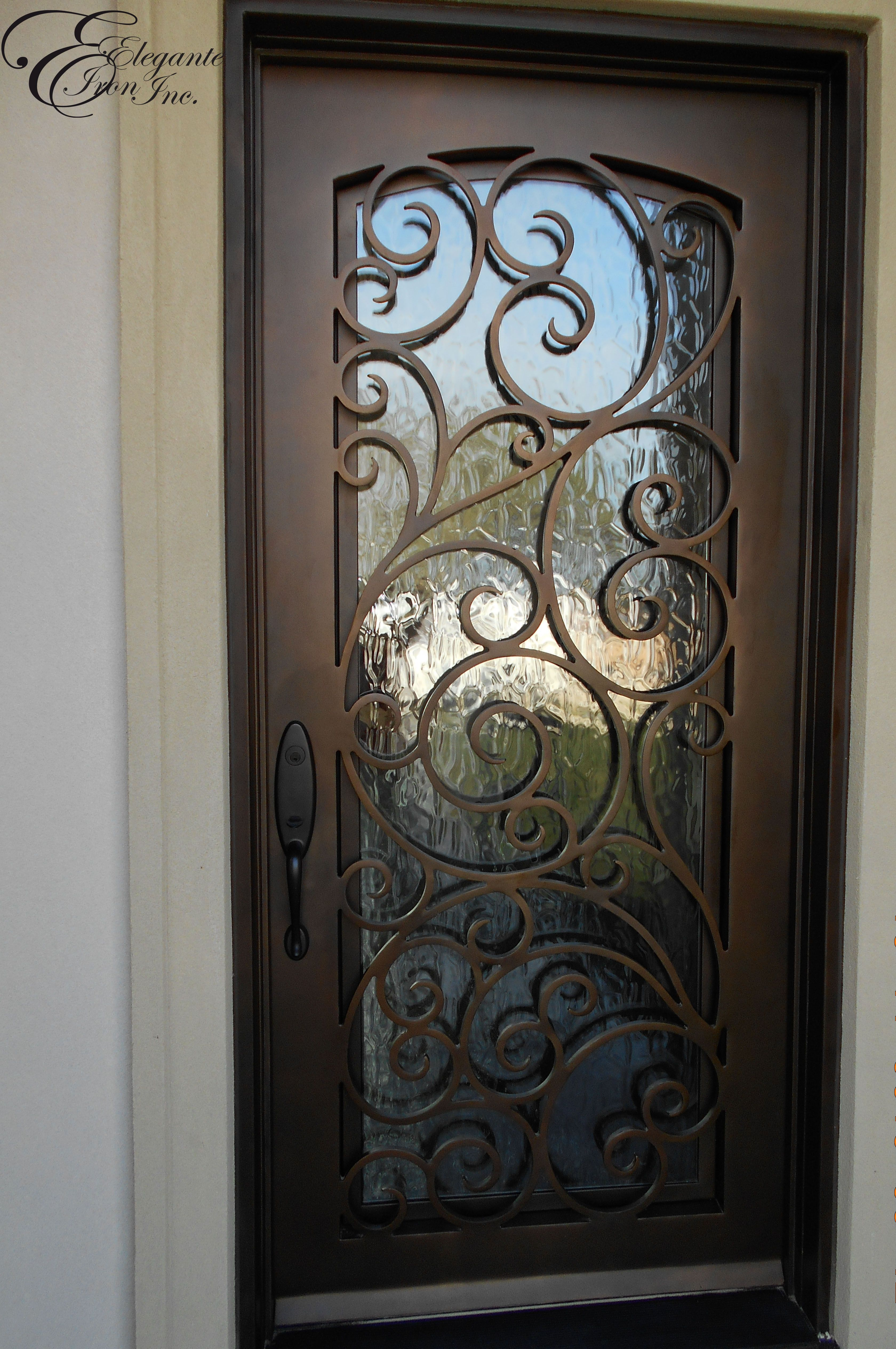 Custom wrought iron front door home ideas pinterest for Unique front entry doors