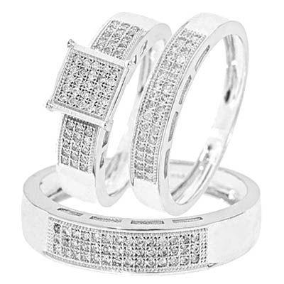 3/8 Carat Diamond Trio Wedding Ring Set 14K White Gold