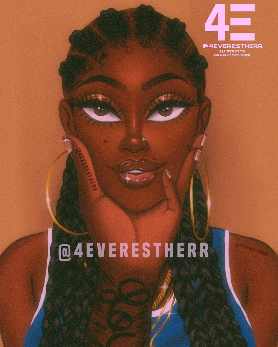 """Estherr La Main D'or 👼🏾🇨🇩🇨🇦 on Instagram: """"💙You're gorgeous 💙 swipe to see my muses . 😘 #illustration #drawing #art #artist #design #dessin #blacklove #creative #cornrows…"""""""