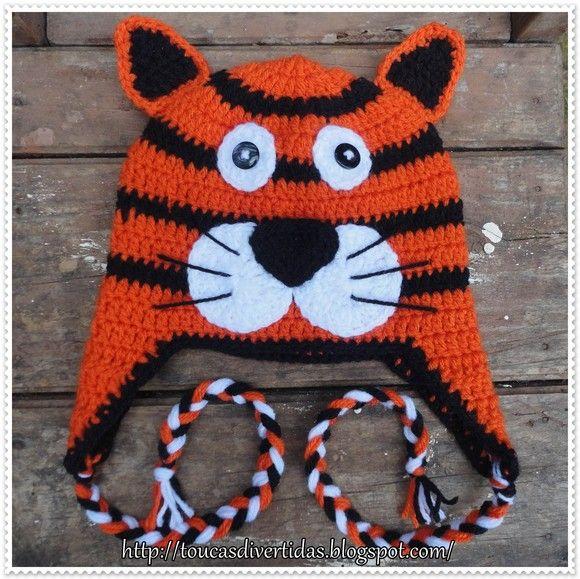 Touca de Crochê Tigre toucasdivertidas hotmail.com  cb5d7fd1d4c