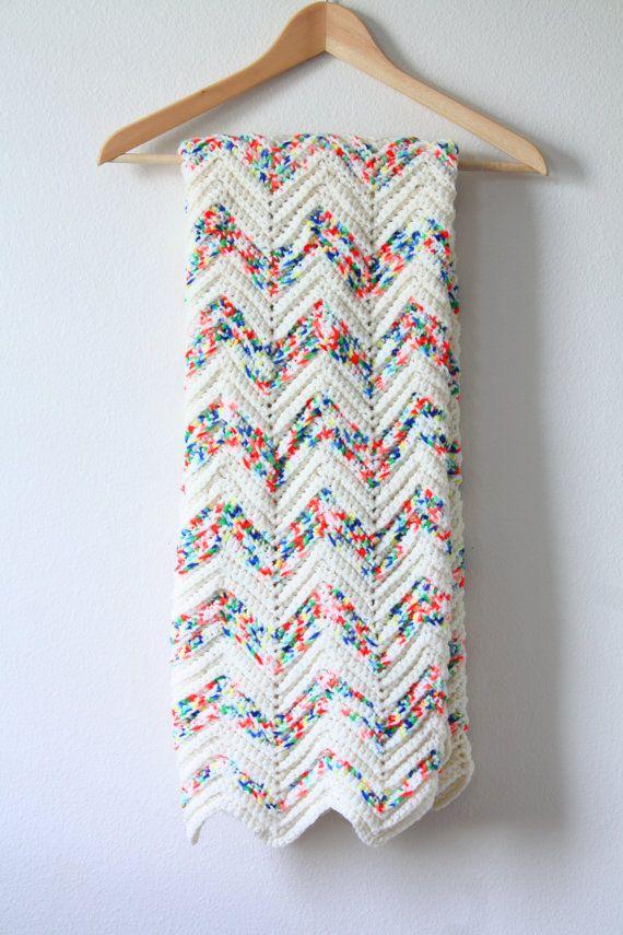 Vintage chevron crochet blanket // pastel baby blanket // white ...