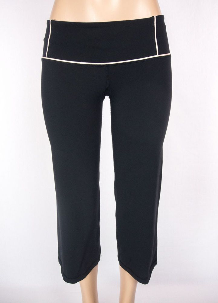 3a55db5b0a LULULEMON Wide Leg Crops Size 6 Reg S Black Pink Vtg Pants Rare #Lululemon  #PantsTightsLeggings. Find this Pin and more ...