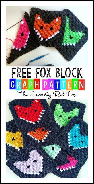 Corner to Corner Crochet Fox Block | crochet with character ...