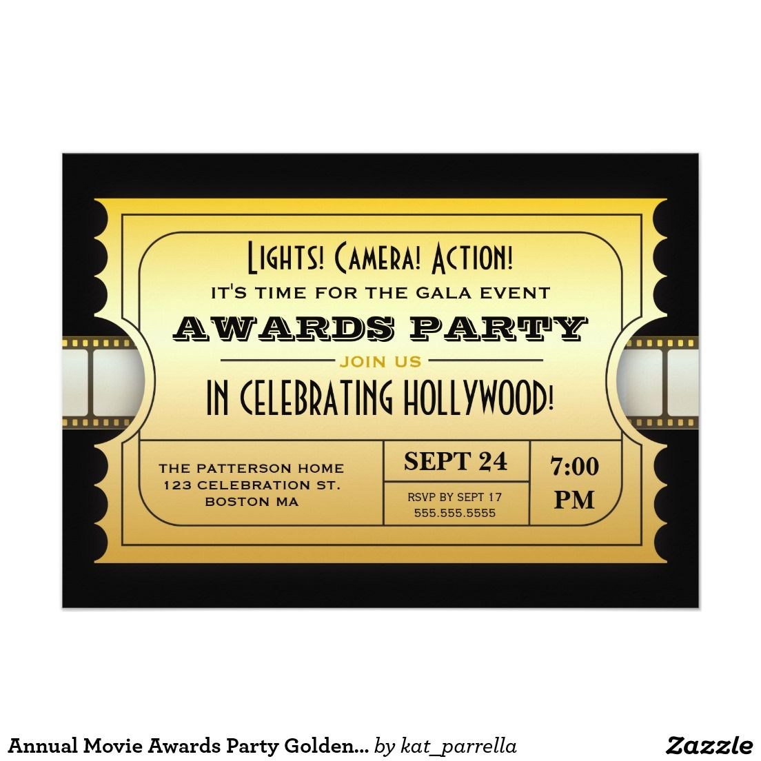 Annual Movie Awards Party Golden Ticket 5x7 Paper Invitation Card ...
