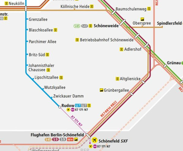 How to get from Schnefeld airport to Berlin city centre Bus map