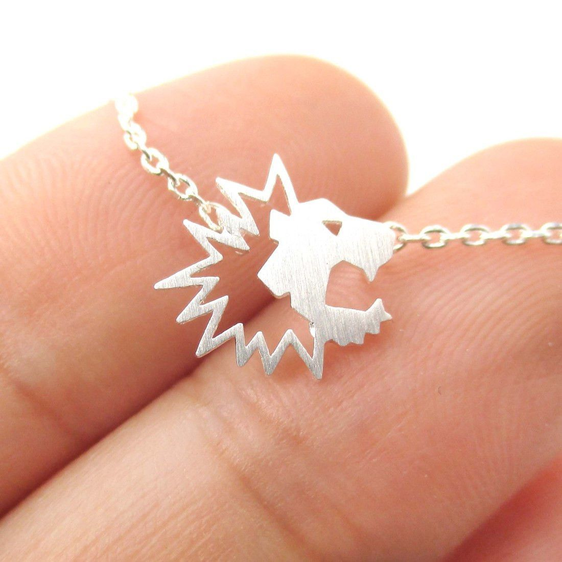 Tiny Lion Face Shaped Animal Cut Out Charm Necklace in Silver   Animal Jewelry
