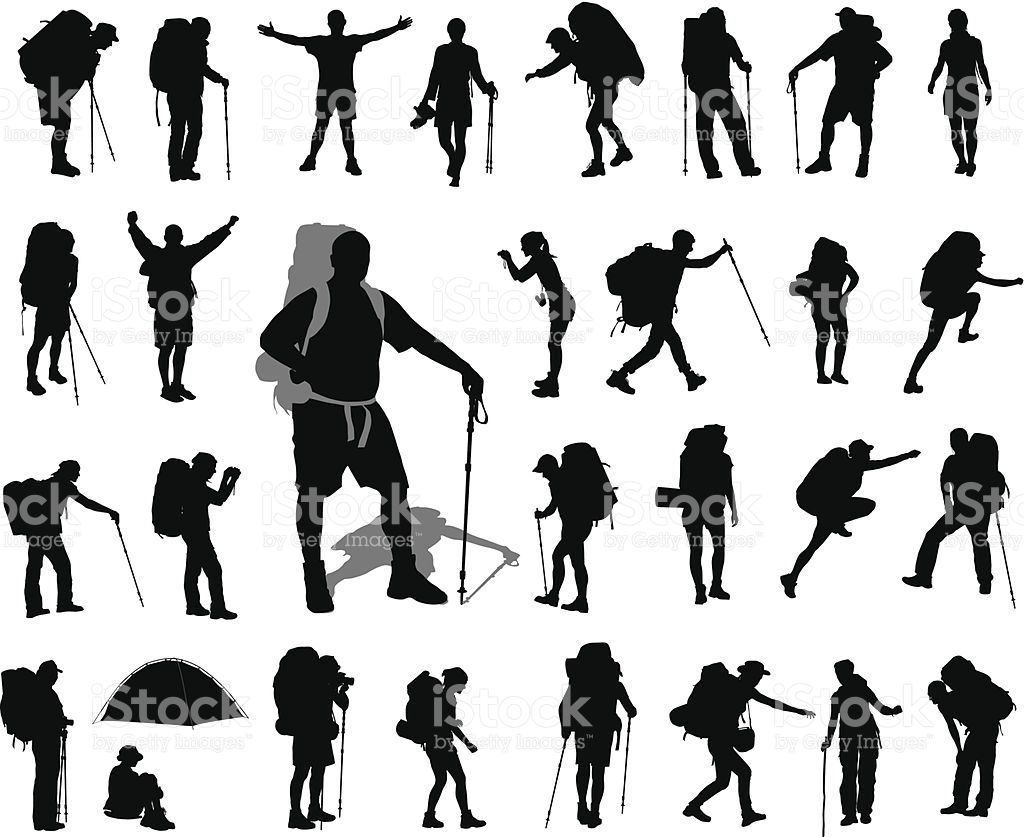 People with backpack vector silhouettes set EPS 8 in 2020