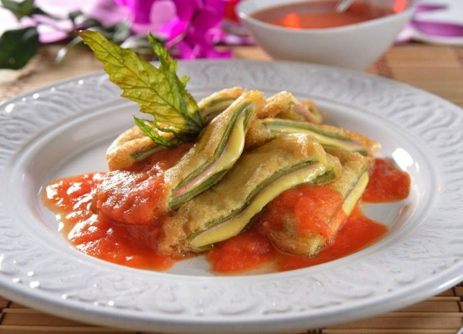 Nopales rellenos con jamn y queso  cocina mexicana