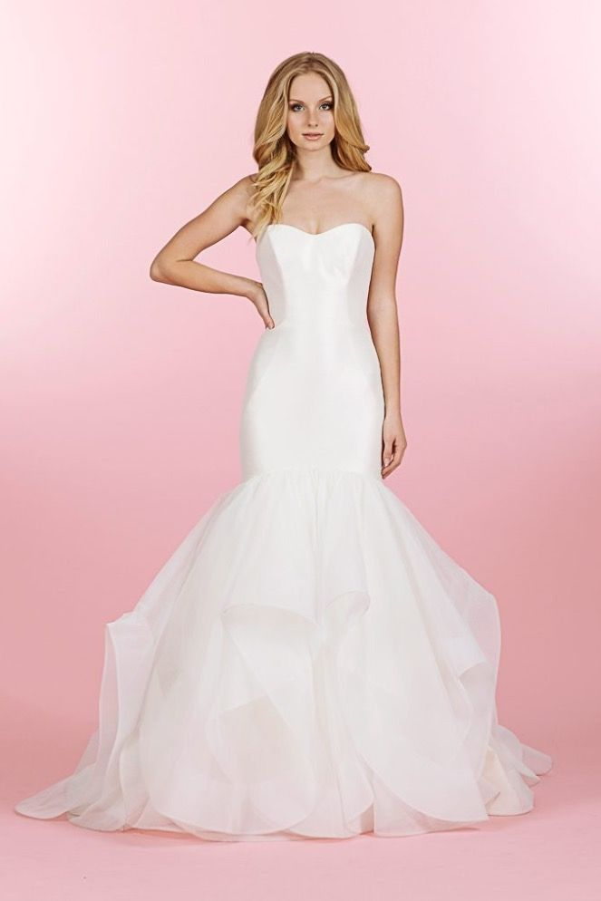 c7e0e5f8c8 Blush By Hayley Paige trumpet style dress. We love the elegance of this  dress and texture on the skirt.