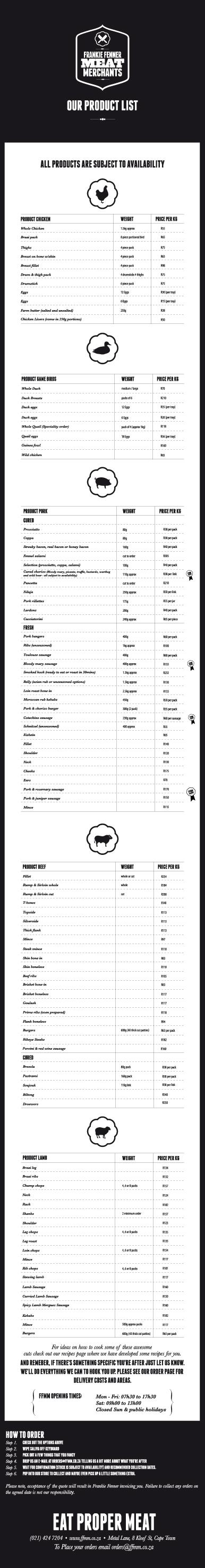 Product price list/Gallery - frankie fenner meat merchants