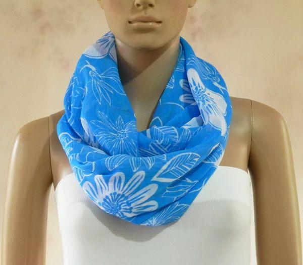 Infinity Scarf.  Floral Scarf. Blue Floral Print Scarf. Tube Scarf. Cowl Scarf. Circular Scarf. Shawl Scarf. Loop Scarf.., via Etsy.