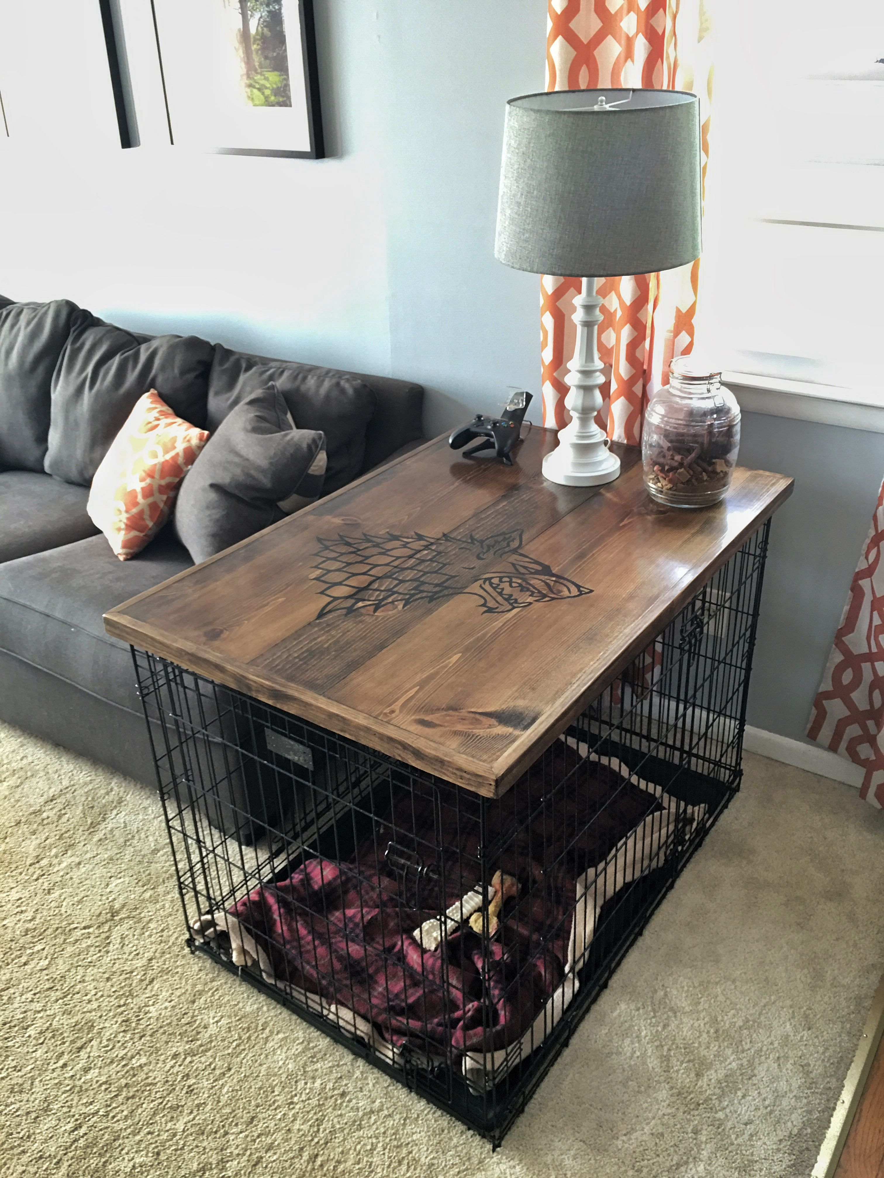 Direwolf Dog Crate Table Top Imgur Dog Crate Table Dog Crate