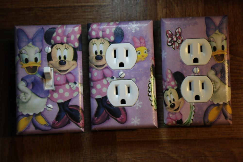 Minnie Mouse & Daisy 3 pc Set Light Switch Cover girls kids room child decor