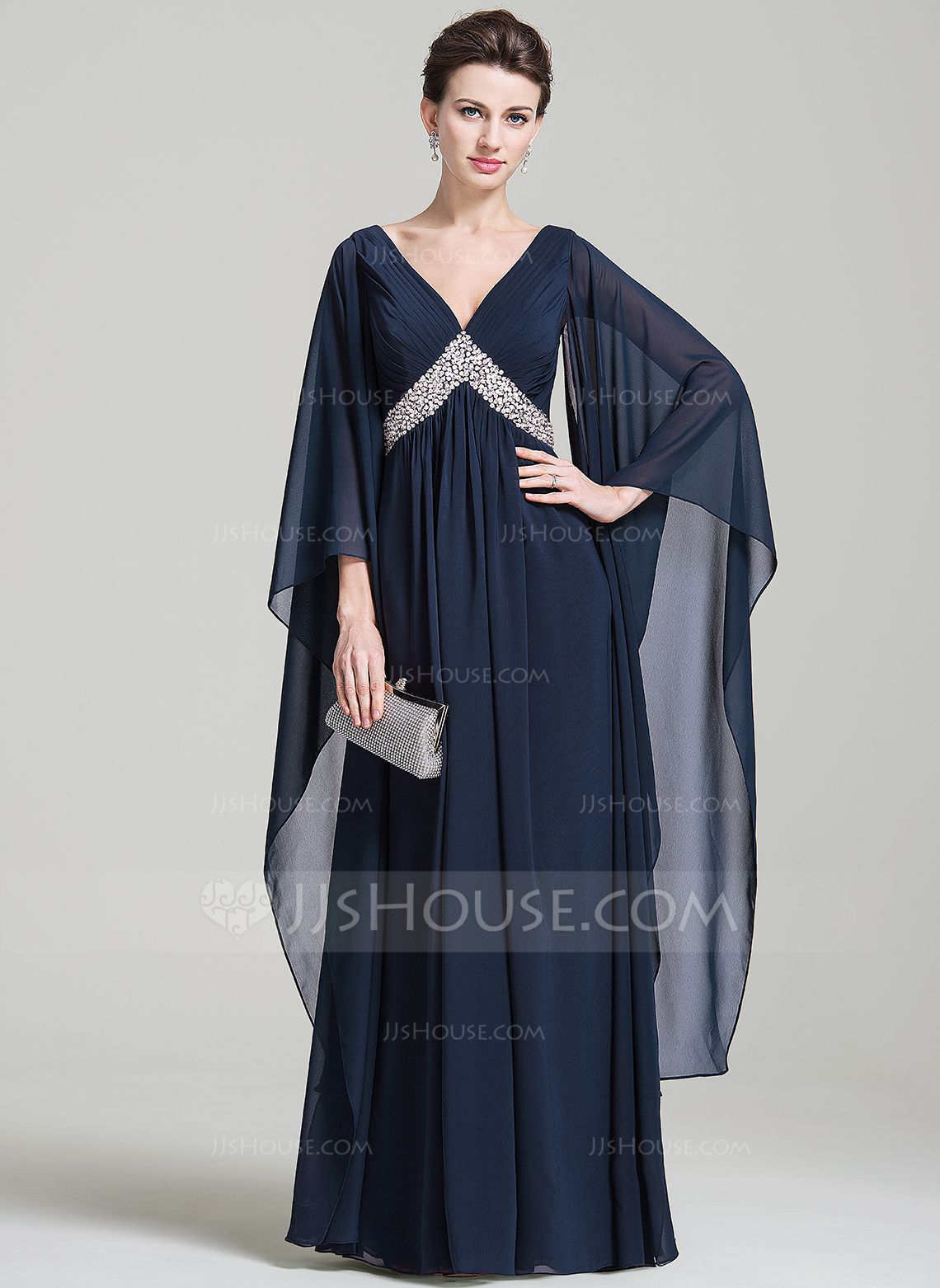 Fashion dress for wedding party  Empire Vneck FloorLength Chiffon Evening Dress With Ruffle Sequins