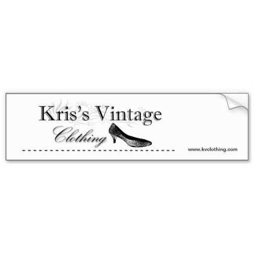 Kris's Vintage Clothing Logo Bumper Sticker is part of Vintage Clothes Logo - Kris's Vintage Clothing Logo Bumper Sticker  This quality bumper sticker that will outlast heavy rain, intense sunlight, and the most severe of traffic jams  11  x 3    Large enough for any message  Made from durable vinyl with a strong adhesive back  Printed with waterresistant ink that won't fade or run