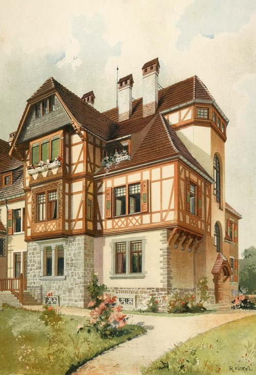 German House Designs: House In Darmstadt, Germany (1903 Chromolithograph)