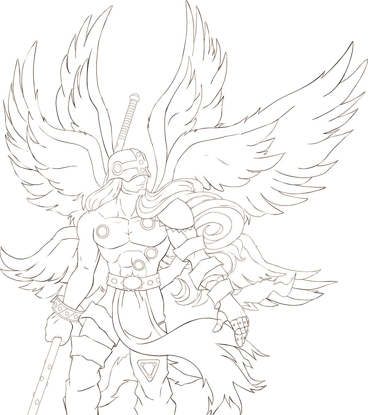 Angemon Line Art Progress Digimon Tattoo Line Art Art