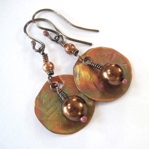 Copper Bronze Pearls Earrings Rustic Boho by RoughMagicCreations, $35.00