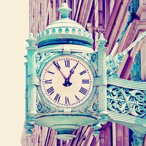 Chicago Print Mint Green Clock Architecture Photograph Vintage Pastels Urban Home Decor Photo Telling Time
