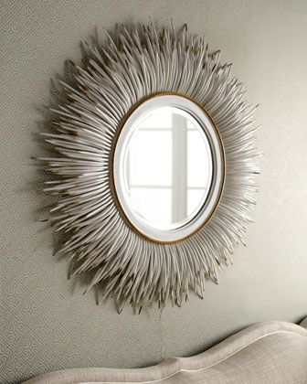 "White ""Porcupine Quill"" Mirror by Janice Minor at Neiman Marcus."