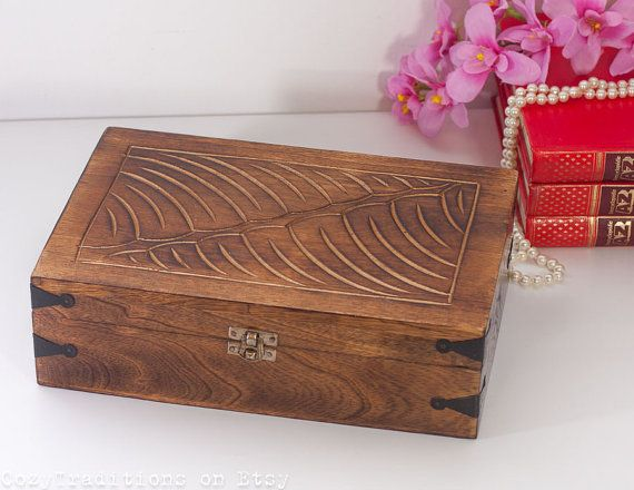 Wooden treasure chest trinket box with carved wavy finish