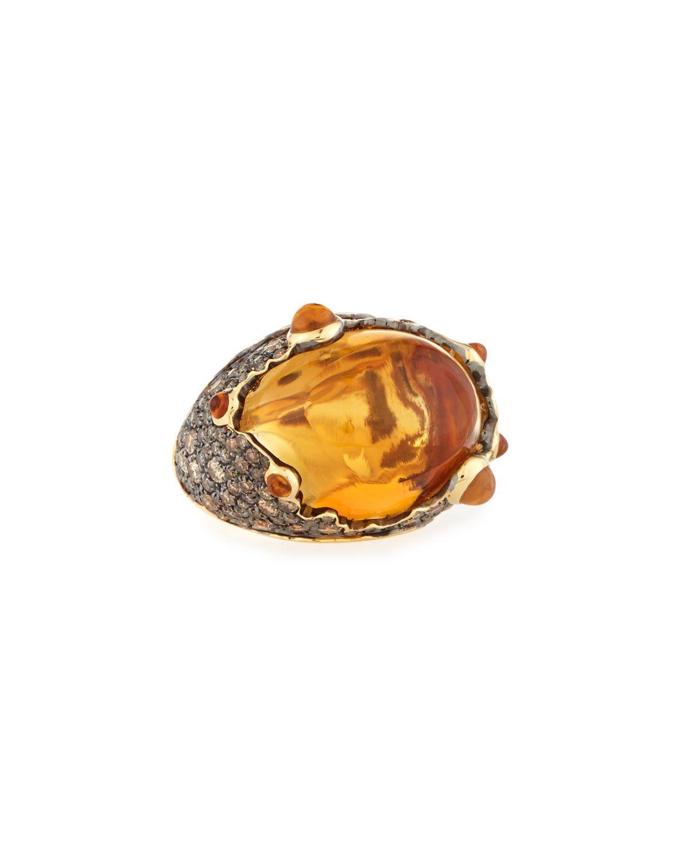 Roberto Coin Vulcano 18k Citrine & Champagne Diamond Cocktail Ring, Size 6, Women's, Size: L, Gold