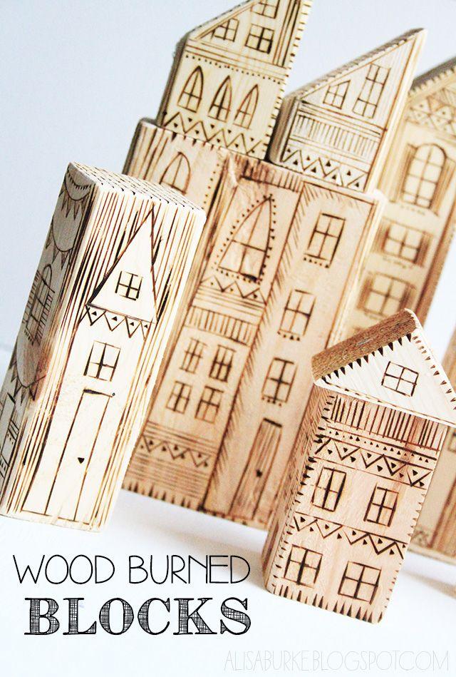 via alisaburke wood burned blocks Woodworking Pinterest