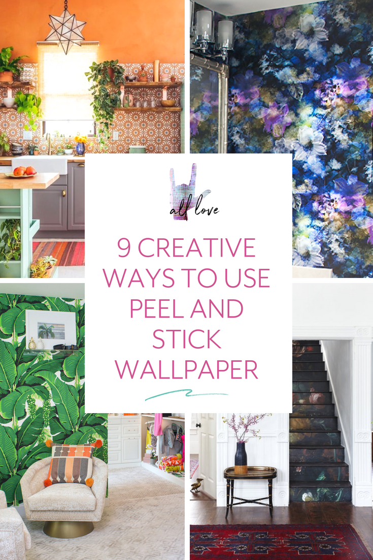 9 Creative Ways To Use Peel And Stick Wallpaper Smithhonig Peel And Stick Wallpaper Home Decor Farmhouse Side Table