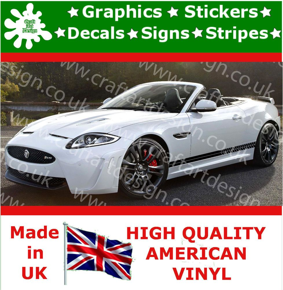 Jaguar rs large side racing stripe kit car stickers vinyl race car decals jdm 12