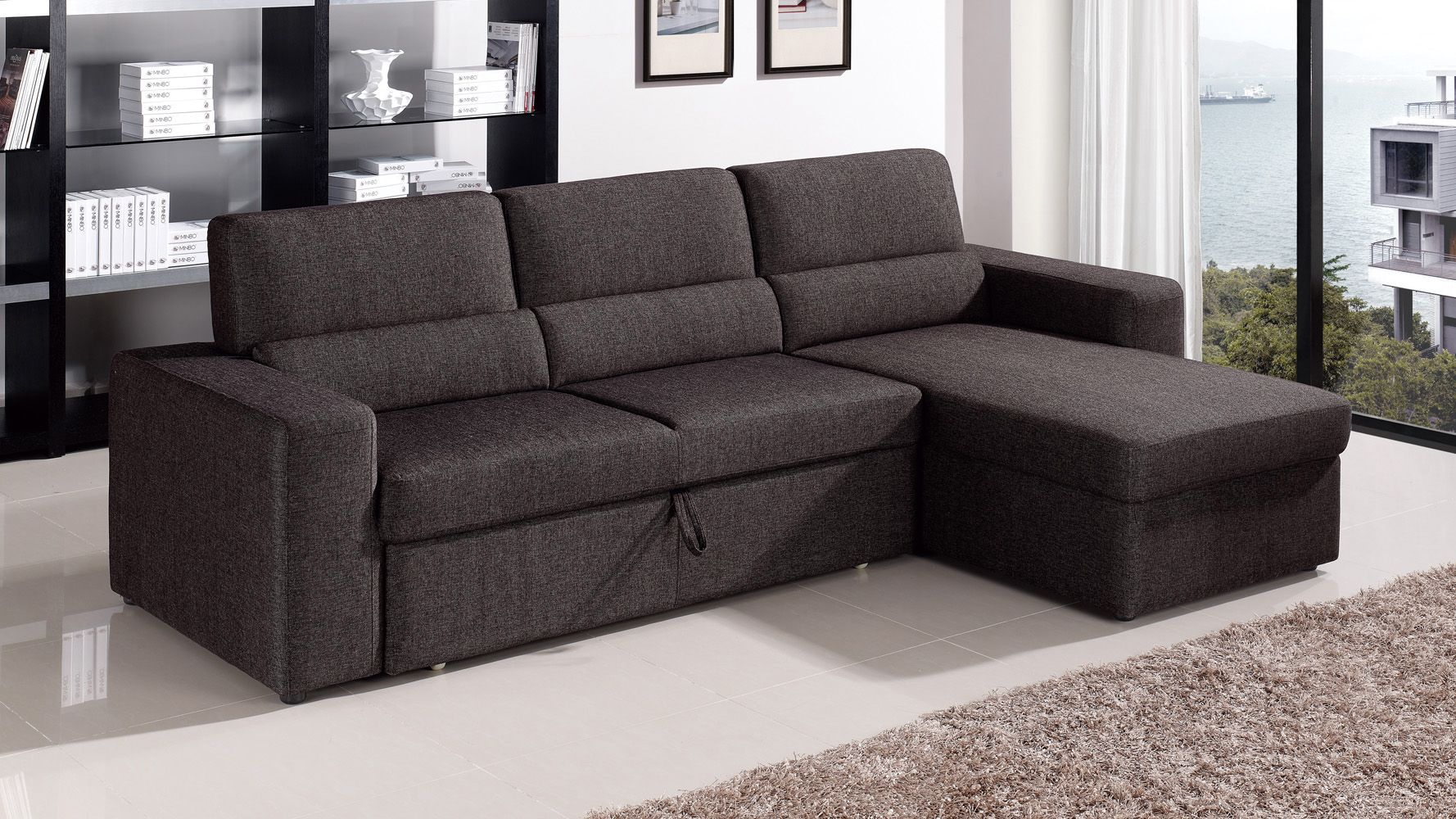 Best Clubber Sleeper Sectional Black Brown Sectional 400 x 300