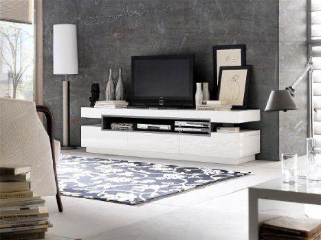 TV Board Vertigo 200x52cm Weiss Grau Hochglanz 3 Schubfächer - küchenzeile hochglanz weiß