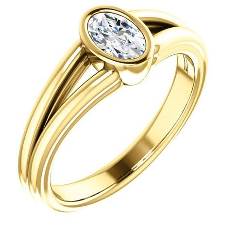 0.50 Ct Oval Ring 14k Yellow Gold